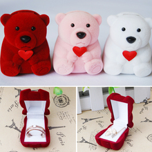 Hot Sale 1pc Velvet Bowknot Cute Bear Wedding Ring Earring Bracelet Jewelry Display Storage Box Case New Year Xmas Gift