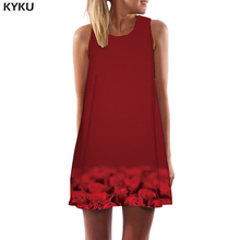 KYKU Brand Rose Dress Women Flower 3d Print Red Ladies Dresses Psychedelic Vestido Sexy Fantasy Korean Style Womens Clothing