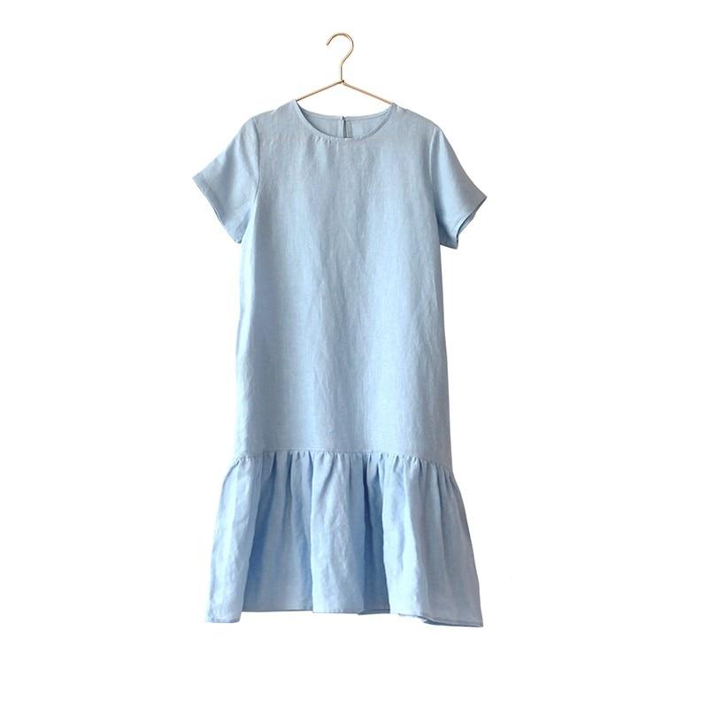 LinenAll originele vrouwen 100% linnen korte mouwen Franse vrouwen jurk met O hals EEN losse comfortabele koele jurk gewaad - 3