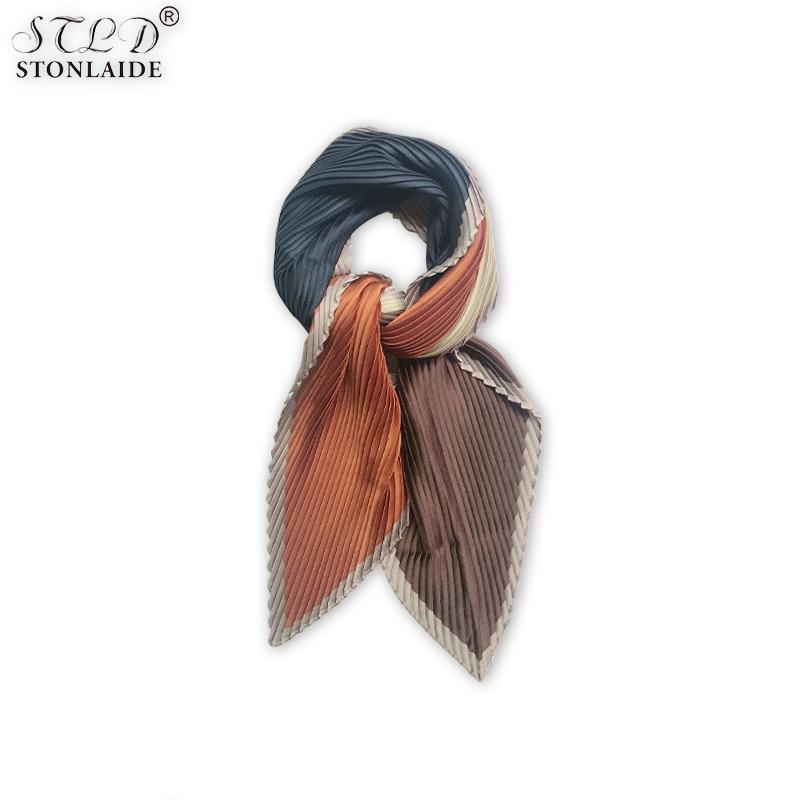 HOT Pleated Square Silk Women Scarf Fashion Multicolor Printing Kerchief Apparel Accessories Imitated Silk Bandana Hip Hop