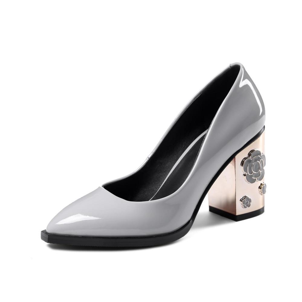 ФОТО krazing pot flowers metal heels genuine patent leather slip on super high-heels pointed toe European designer luxury big size 19