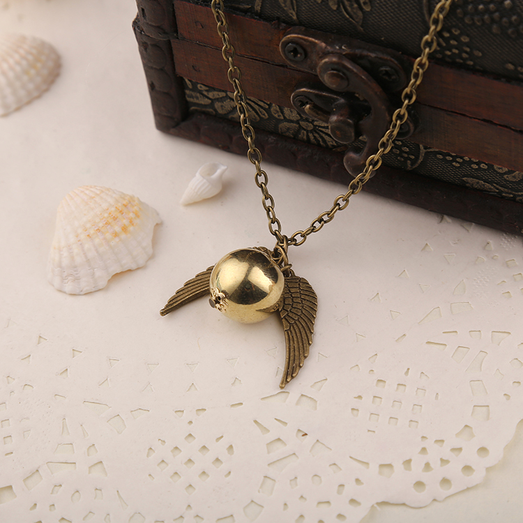 Image 3 - Golden Snitch Necklace Quidditch Fly Ball Antique Bronze Silver Wing Pendant Steampunk Vintage Movie Jewelry Men Women Wholesalemovie jewelryjewelry menjewelry wholesale -