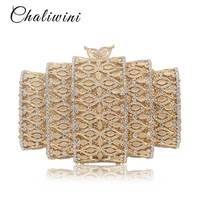 Fashion Dazzling Gold Hollow Out Crystal Women Evening Bags Stones Beaded Wedding Clutch Bridal Diamond Minaudiere Purse