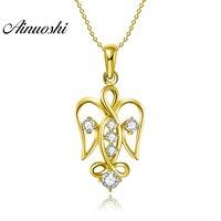 AINUOSHI 10K Solid Yellow Gold Pendant Hollow Eagle Pendant SONA Diamond Women Men Jewelry Adorable Birds 2.0g Separate Pendant