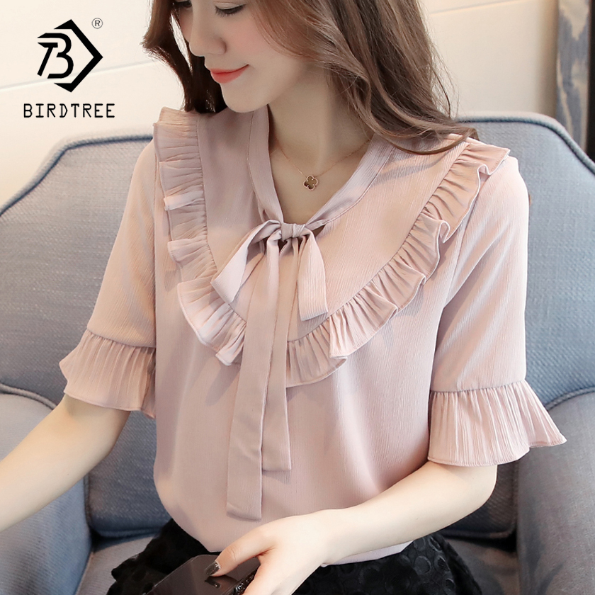 2018 Women Lace Tops   Blouses   &   Shirts   Women Clothing Ladies Fashion Slim Women Butterfly Sleeve Solid   Shirts   Hot Sale T83715L