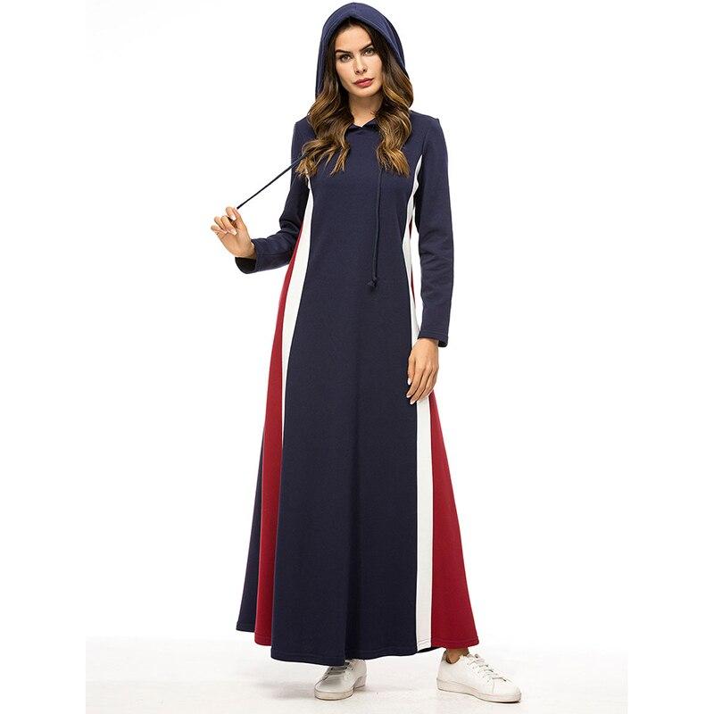 2019 automne hiver femmes robe à capuche grande taille 4XL bleu marine épais musulman Abaya robe dubaï turquie robe islamique Moslim Jurken