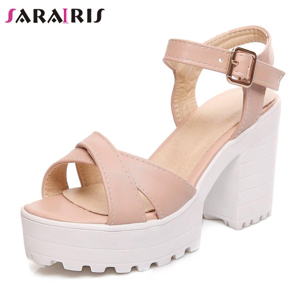 SARAIRIS Plus Size 34 46 Elegant non slip Summer Platform Sandals Women Breathable High Wide Heels Shoes Woman Sweet Footwear