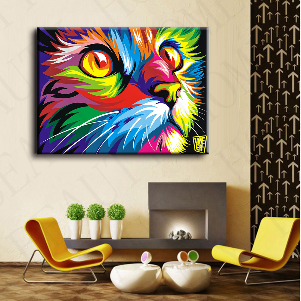 Colorful Wall Decor: Original Colorful Paint Cat Head Graphic Pictures Art