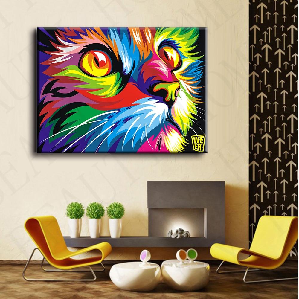 Original Colorful Paint Cat Head Graphic Art