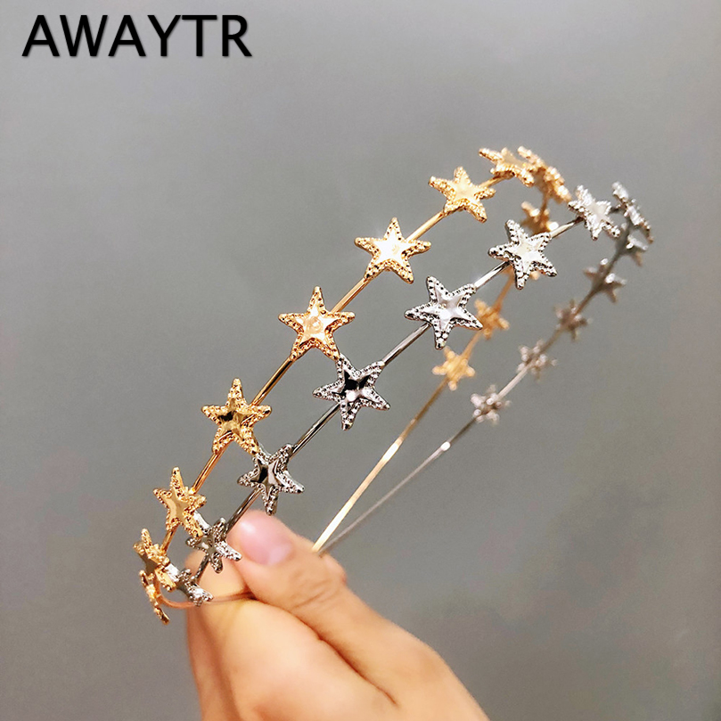 AWAYTR Fashion Gold Sliver Metal Star Hairband For Women Sweet Wedding Hair Accessories Tiara Elegant Girls Headband Headwear(China)