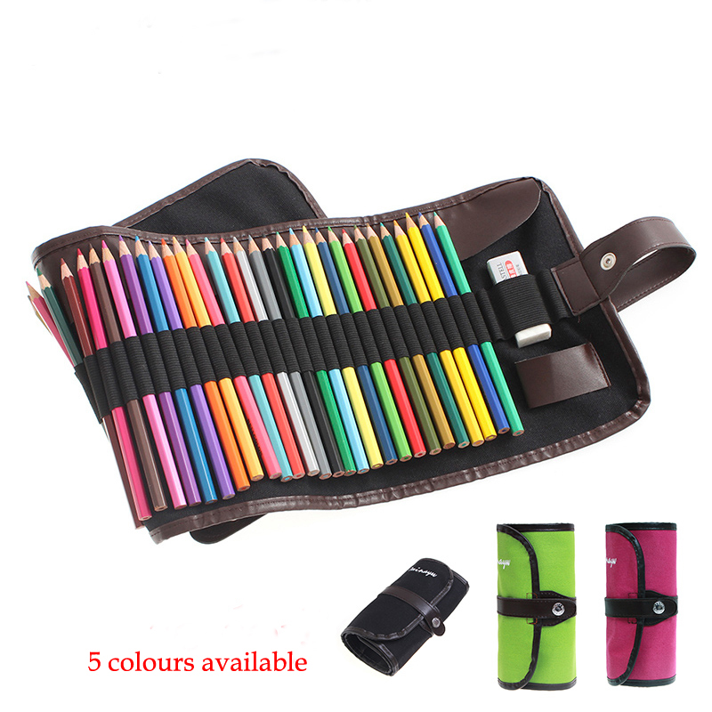36/48/72 holes Canvas Roll Pouch Makeup Comestic Brush Pen Storage pecncil box School Pencil Case Material Escolar Art Supplies 2 layer 36 holes art pen pencil case box students stationary zipper storage comestic make up brush organizer bag school supplies