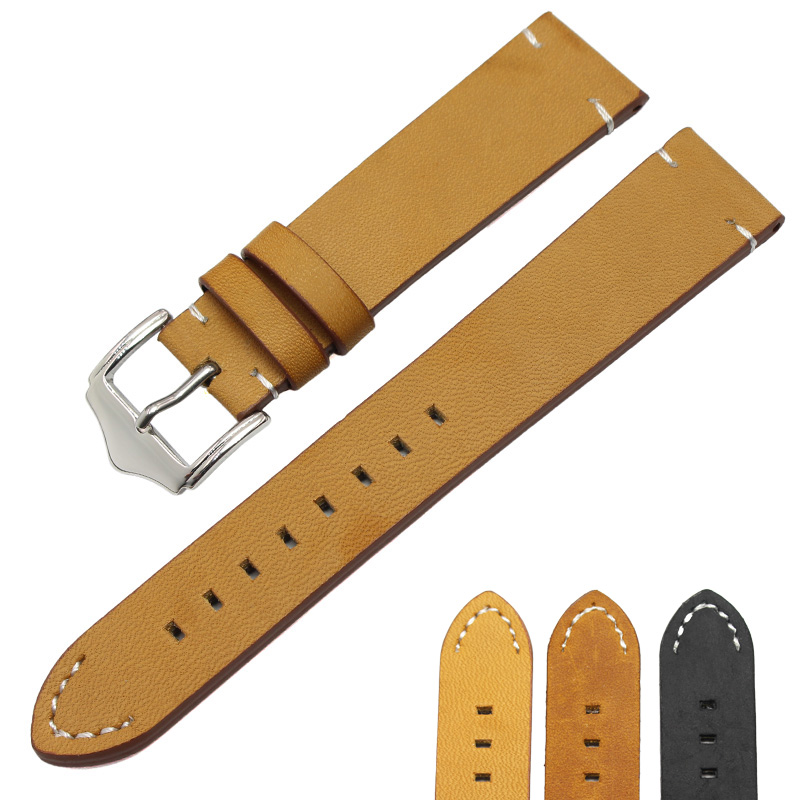 Retro Genuine Leather Watchband Strap 18mm 20mm 22mm Black Dar Brown Women Men Belt With Silver Stainless Steel Buckles 20 x 15 mm half roller buckles wire formed and belt loops silver 3 4 inch strap sliders & buckles 40pcs lot
