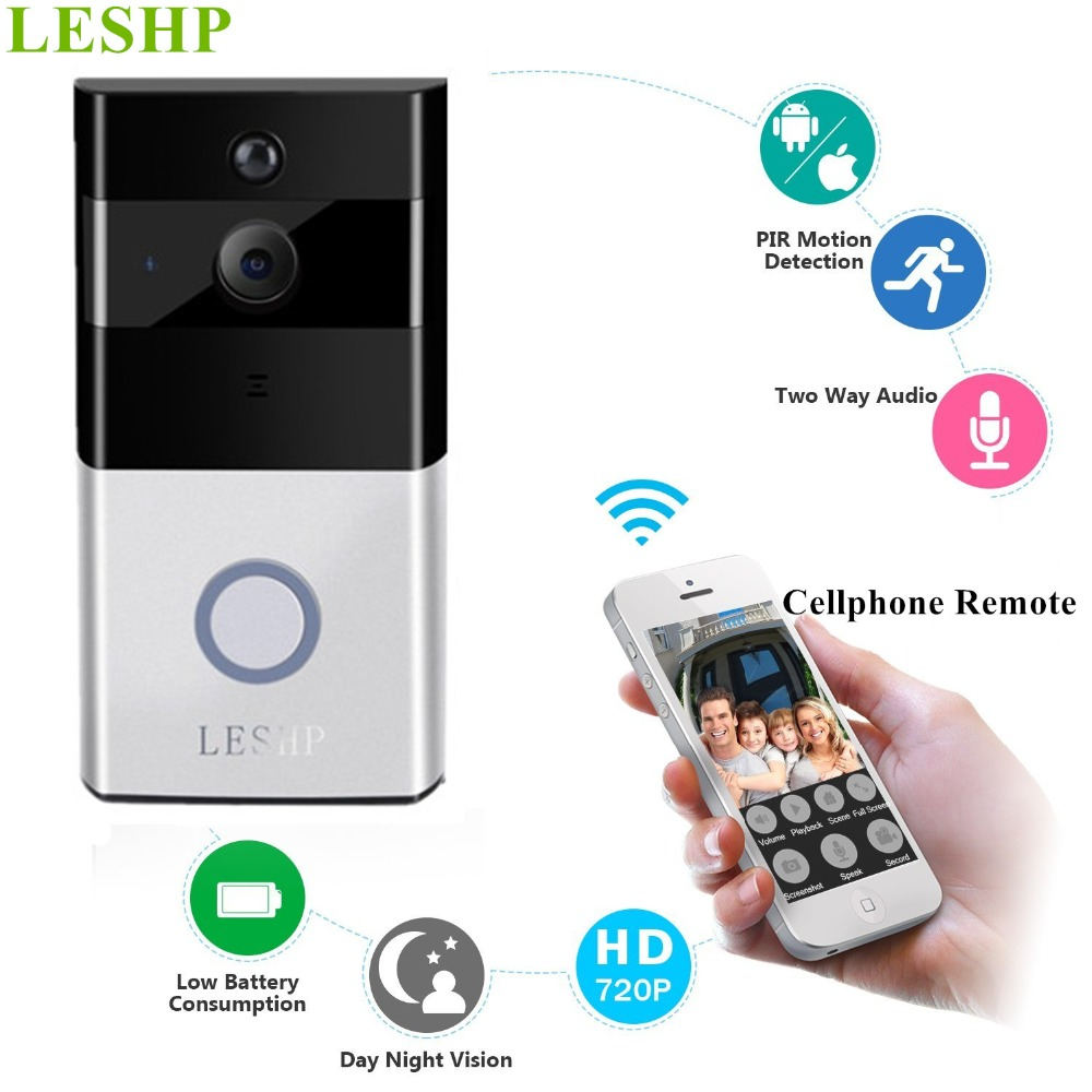 LESHP Video Doorbell 1080P Wireless WiFi Ring Door Bell HD 2.4G Phone Remote PIR Motion Two-way Talk Home Alarm Security linptech g1 1 doorbell button 2 remote wireless door bells smart mp3 ring doorbell electric waterproof home call ring bell