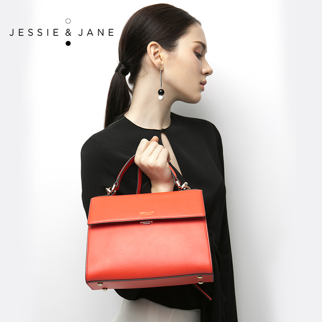 JESSIE&JANE Designer Brand Split Leather Women Messenger Bags Handbag Satchel Bag Shoulder Bags Top-Handle Bags 1262