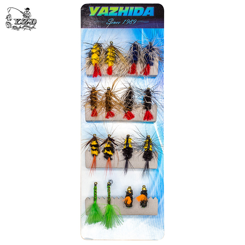 Classic 16 PCS Dry Wet Flies Fly Fishing Set For Trout Salmon Pheasant Tail Dry Fly Lures kit Caddis Insects Patterns Bait salmon