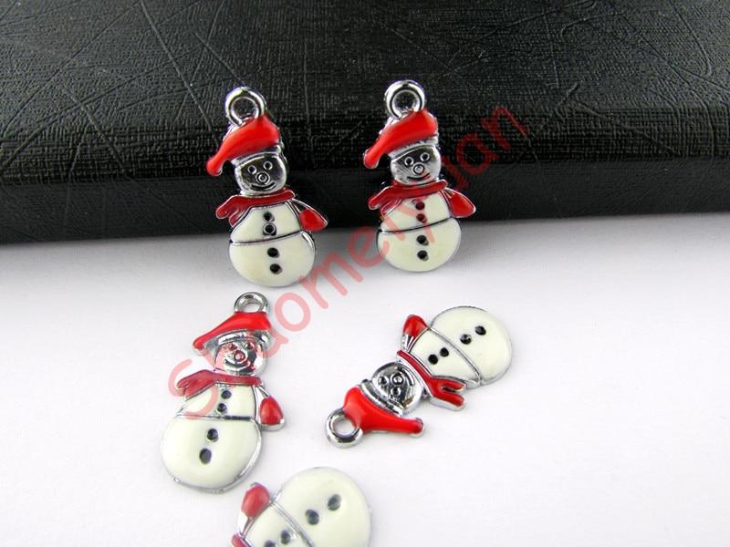 ECM25 Mix Color 20Pcs Alloy Metal Enamel Christmas Snowman Charms Pendants 26x18.5mm