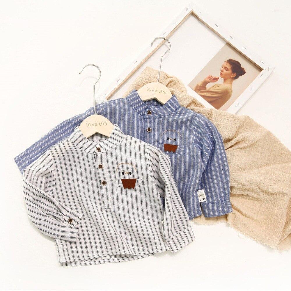 Рубашки для маленьких мальчиков и девочек, полосатые рубашки с длинными рукавами для детей, блузка, рубашки для малышей, весенние рубашки дл...