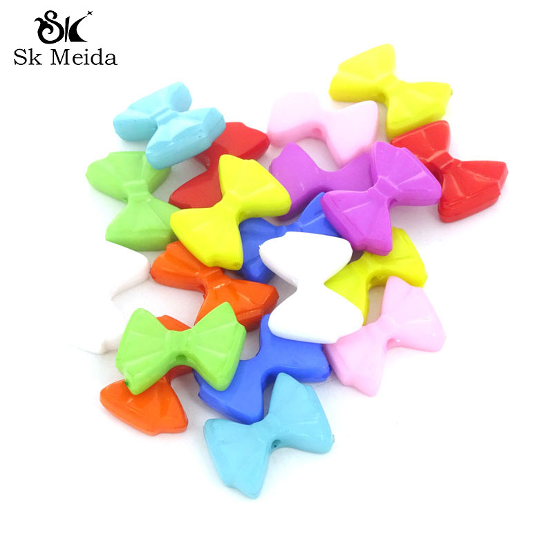 100Pcs Mix Color Acrylic Bow Beads Flatback Craft Girls Hair Accessories Materiale Per Bigiotteria Diy Kids Jewelry 18*14mm