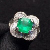 Fine Jewelry G18k Rings Real Diamonds Gold 18K White Gold Natural Emerald Gemstones 2.85ct Female's Rings for women Fine Ring