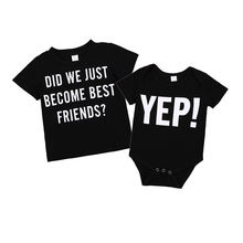 Black Yep Cool Matching T-shirt For Little Brother Baby Boy Casual Romper Playsuit Kids Boy Cotton Tops(China)