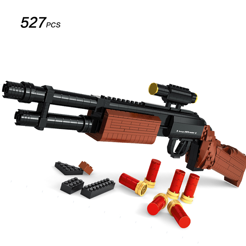 M870 Modular Combat Shotgun GUN Weapon Arms Model 1:1 3D 527pcs Model Brick Gun Building Block Set Toy