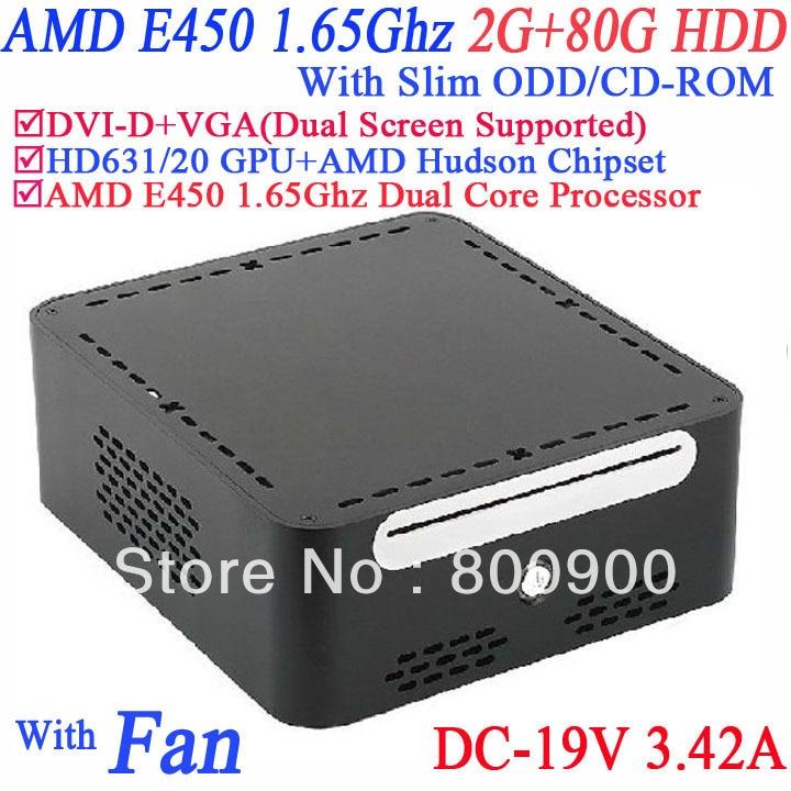 2015 mini pc computer with DVI-D 19V-DC Slim ODD CD-ROM 2G RAM 80G HDD AMD APU E450 1.65GHz Radeon HD6310 core windows or linux