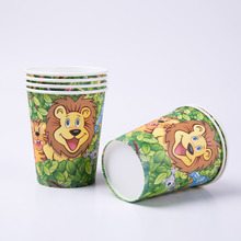 6pcs/lot Cartoon Animal Jungle animals Paper Cups Party Decoration Disposable Tableware Set Supplies Wild Zoo Globos