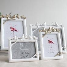 Retro pájaro de resina foto marco creativo Vintage pájaros árbol foto boda dormitorio decoración de escritorio adornos de regalo Marco rectangular
