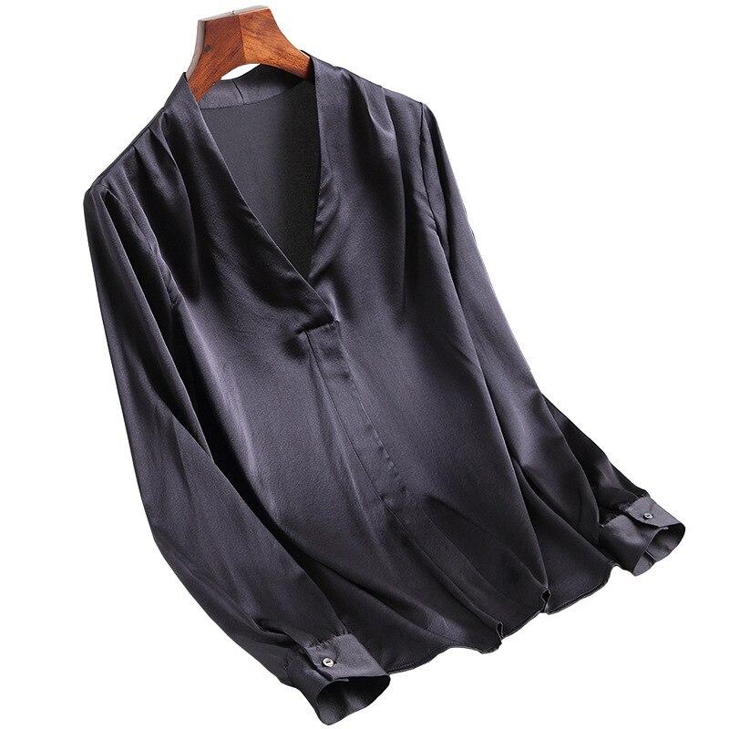 S-XXL mode femmes noir Satin soie Blouse dames décontracté à manches longues col en v véritable soie Satin Blouses chemises