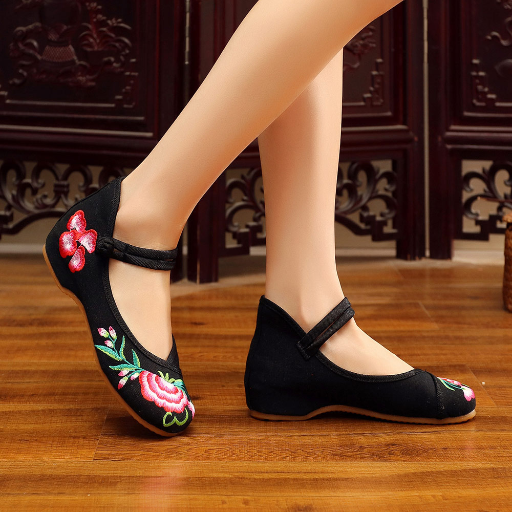 Designer Veowalk Chinois Casual rouge Broderie Vintage Chaussures Confort Dames Femmes Ballerines noir Toile Coton Femme White drxwrY
