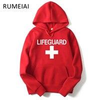 RUMEIAI 2017 Autumn Winter Men Hoodie Sweatshirt Fashion Print Lifeguard Hoodies Mens Casual Pullover Red Life