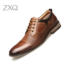 Handmade Pointed Toe Men Genuine Leather Oxford Shoes Big Size England Style Retro Nature Dress