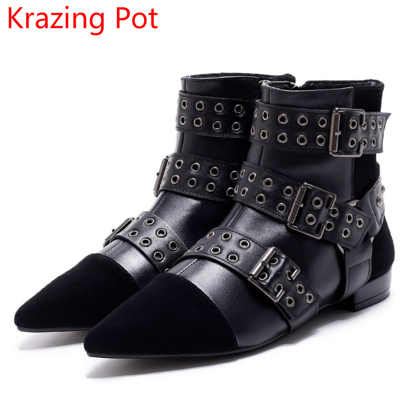 Fashion Genuine Leather Handmade Rivets Pointe Toe Buckle Winter Boots Zipper High Heel Runway Party Women Mid-Calf Boots L38 mabaiwan handmade rivets military cowboy boots mid calf genuine leather women motorcycle boots vintage buckle straps shoes woman