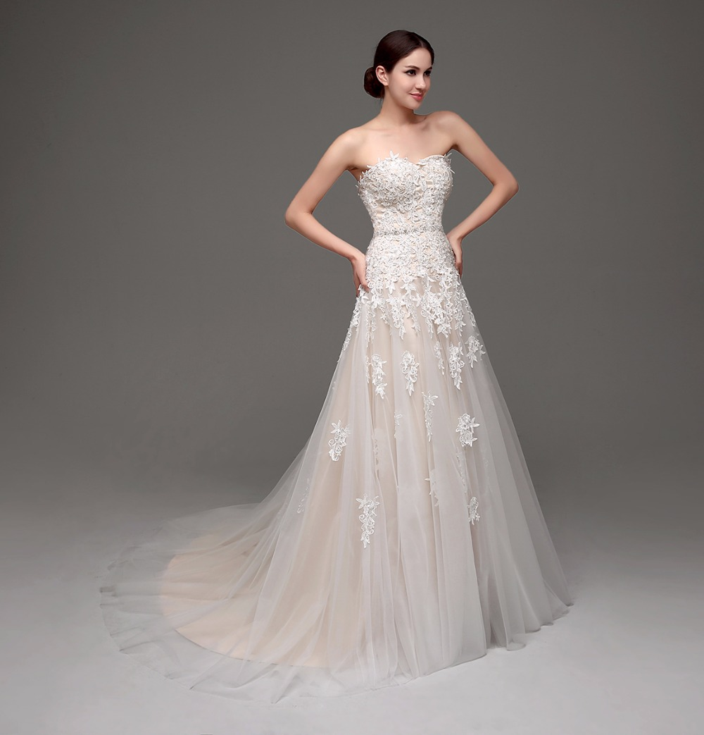 Image 3 - 100% Real Images High Quality Cheap Champagne Wedding Dresses A line Swetheart Bride Gowns Lace vestido de noiva com manga-in Wedding Dresses from Weddings & Events