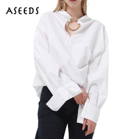 Spring Fashion Big Ring White Shirts Women Casual Design Long Sleeve Loose Blouse Street Hollow Out