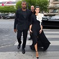 Kim Kardashian Red Carpet Dresses Scoop Half Sleeve Flower Sexy Side Split Chiffon Black And White Evening Celebrity Dresses