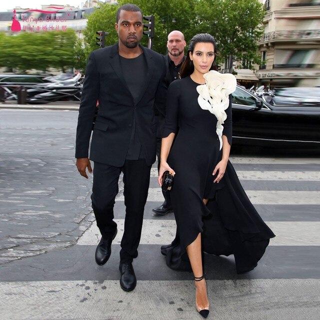 Kim Kardashian Red Carpet Vestidos Colher Meia Manga Flor Sexy Side Dividir Chiffon Preto E Branco Vestidos de Noite Da Celebridade
