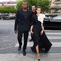 Kim Kardashian de la Alfombra Roja Vestidos de Scoop Media Manga de La Flor Sexy Side Dividir Gasa Blanco Y Negro de Noche Vestidos de La Celebridad