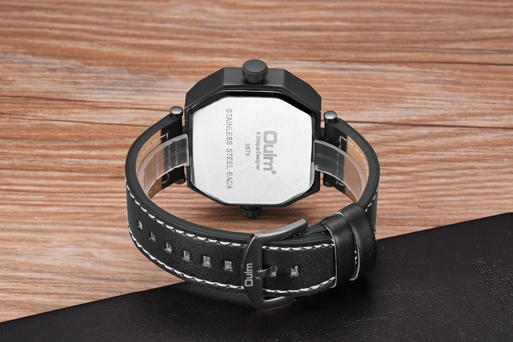 OULM Fashion Oversize Quartz Watch Men 2 Time Zone Display Unique Rectangle Dial Deisgn Leather Strap Creative Casual Wristwatch 20