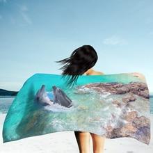 Ocean Nautical Dolphin Sea Tide Print 3D BeachTowel 75x150cm