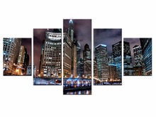 цена на 5 pieces City series landscape Waterproof Printing Photo Canvas Print On Canvas Printing Wall Pictures Home Decoration/City-87