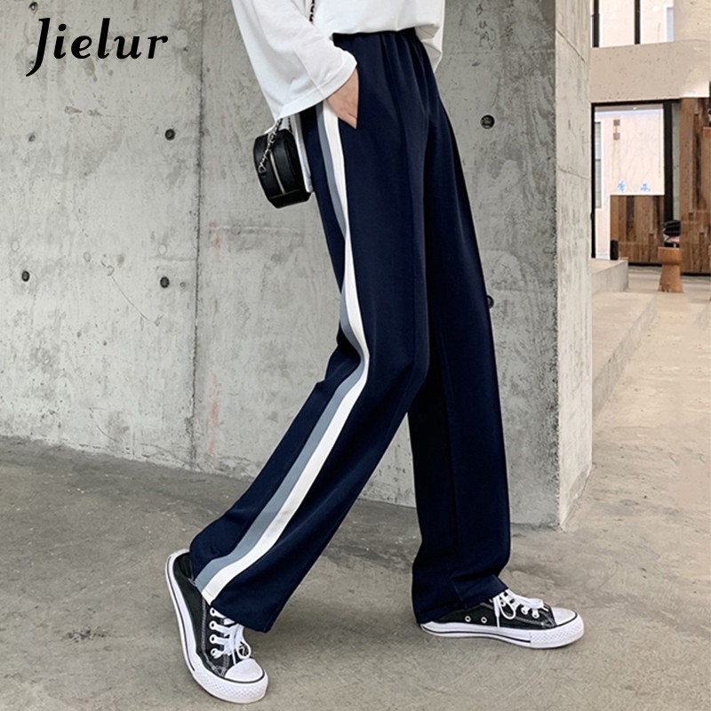 Jilelur Casual Side Stripe Straight Pants Women Korean High Waist Wide Leg Trousers Summer Loose Sweatpants Pantalon Femme 2019