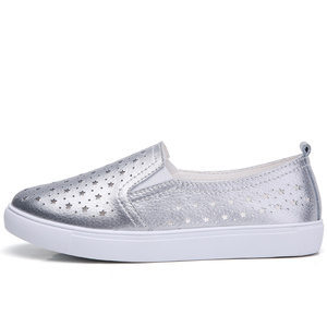 Image 3 - STQ 2020 Summer Women Flats Sneakers Ballet Flats Oxfords Shoes Slip On Loafers Casual Shoes Women White Silver Boat Shoes 6688