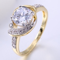 White AAA CZ Cubic Zirconia Diamonds Plated Double 18K Gold Fashion Round Shape For Women Engagement