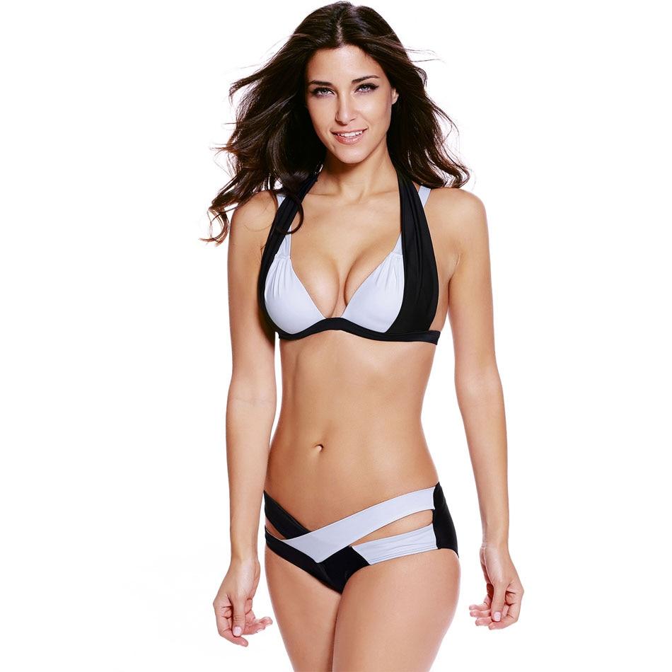 S-XXXL Plus Size Bikinis 2016 Sexy Push Up Bra Swimwear Black White Color Block Halter Bikini Summer Beach Large Women Swimwear цена 2017