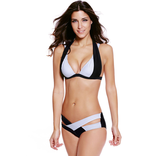 f1d84d23ef S-XXXL Plus Size Bikinis 2016 Sexy Push Up Bra Swimwear Black White Color  Block Halter Bikini Summer Beach Large Women Swimwear