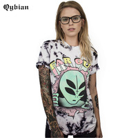 Qybian Punk Style T Shirt Women Multi Eyed Alien Letter Printing Shirts Casual Long Section Tops