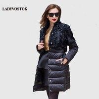 LADYVOSTOK Herfst en winter Vrouw jassen splicing riem In de lange kasjmier Leisure donsjack Vrouw jacket Slim Warm 16-753