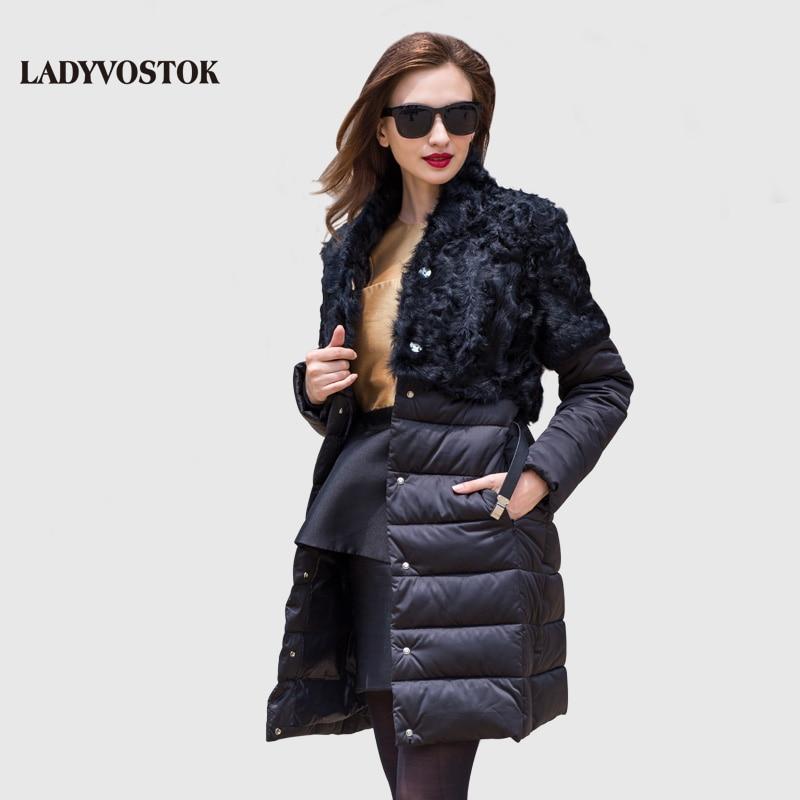 LADYVOSTOK Outono e inverno Mulher casacos splicing cinto no longo cashmere jaqueta de Lazer Para Baixo jaqueta Mulher Quente Fino 16-753