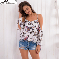 Avodovama M New Fashion Women Chiffon Blouses Printed Long Sleeve Backless Sexy Off Shoulder Shirts